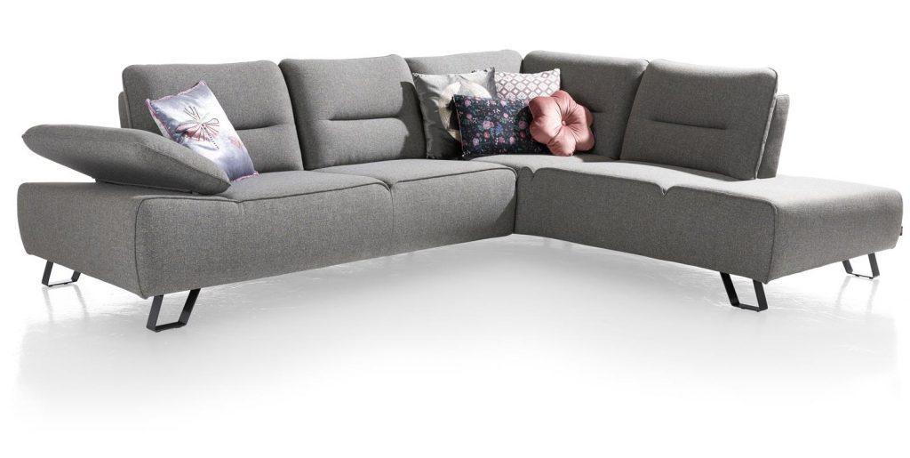 canapé d'angle en tissus gris clair