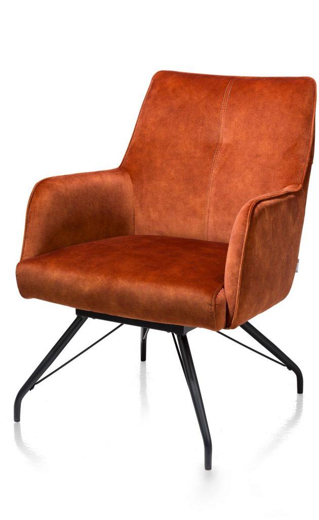 Fauteuil contemporain en velours orange