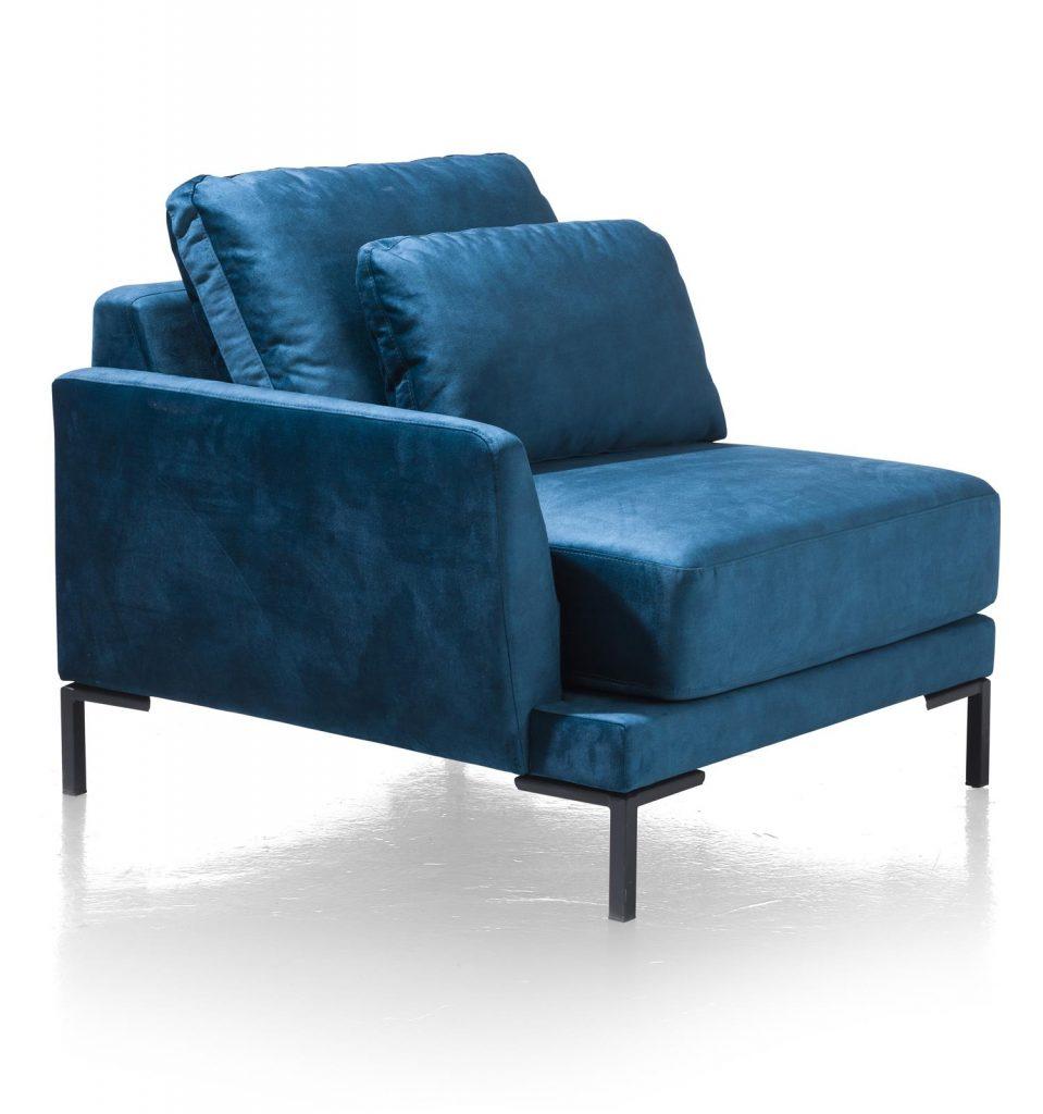 Élément accoudoir de canapé d'angle en tissus bleu