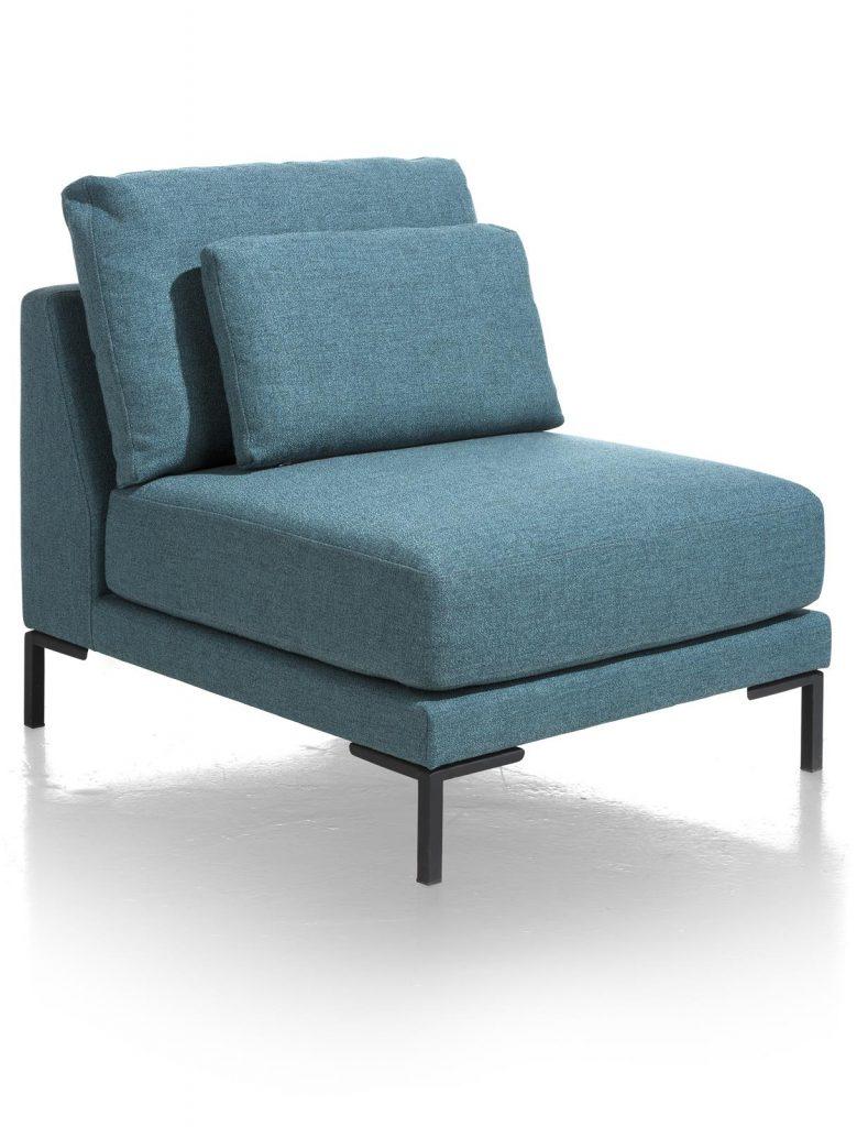 Élément de canapé d'angle en tissus bleu