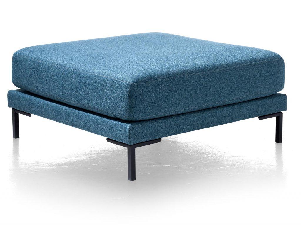 Pouf carré en tissus bleu