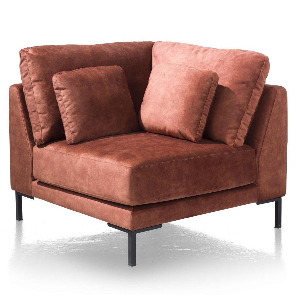 Élément de canapé d'angle en tissus couleur terracotta