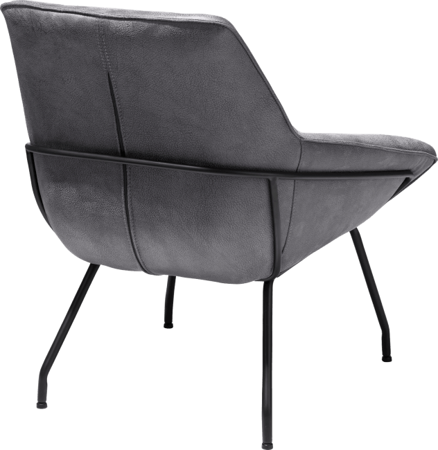 Fauteuil contemporain pied métal noir de couleur gris