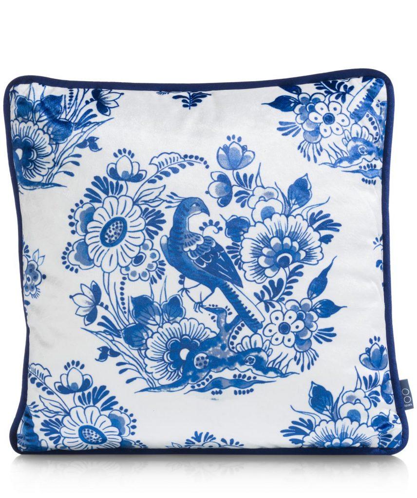 Coussin carré bleu et blanc motifs de Delf