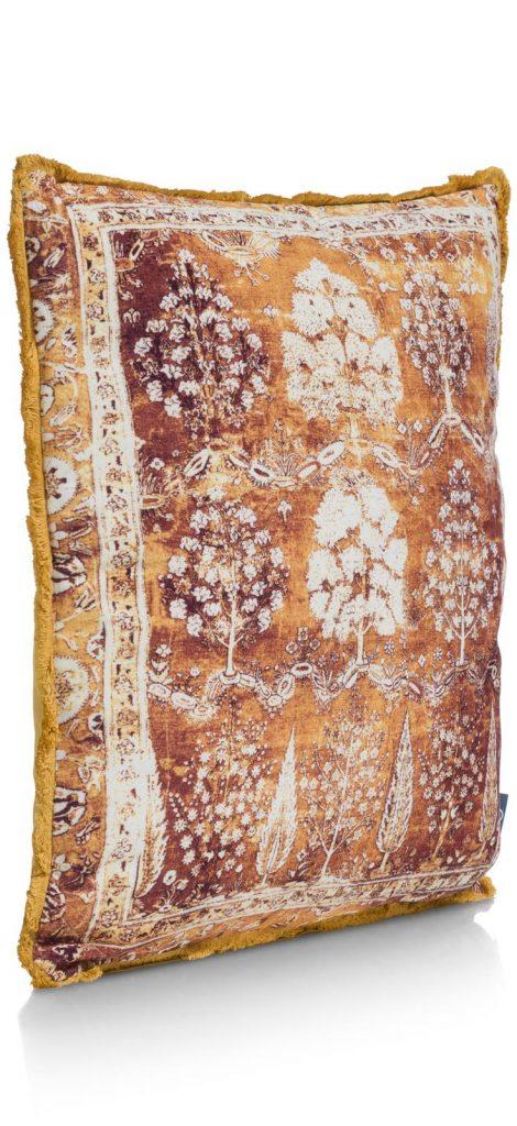 Coussin d'automne jaune et orange avec imprimés arbres