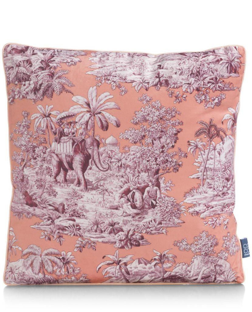 Coussin décoratif couleur pêche et imprimé jungle