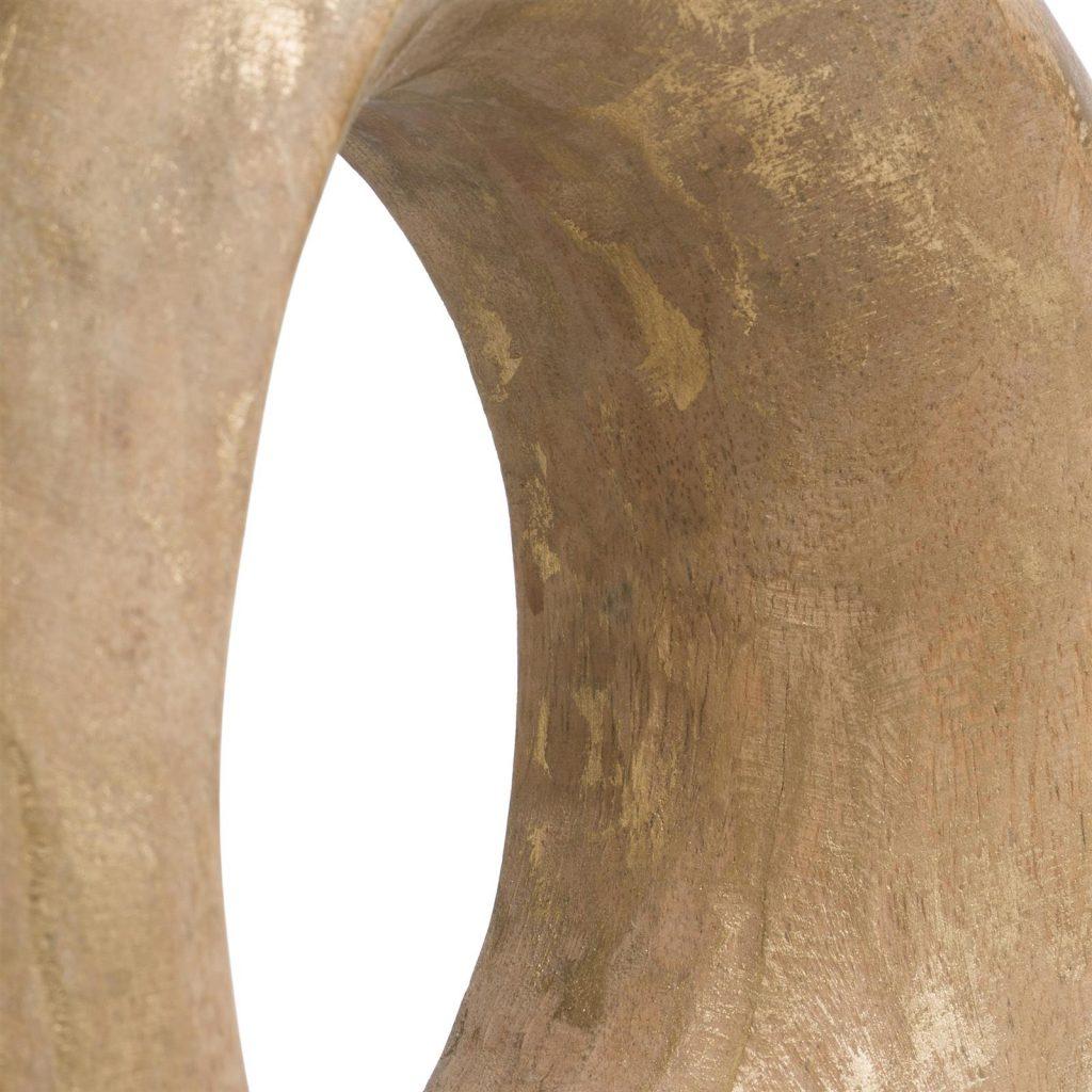 Sculpture circulaire en bois couleur dorée