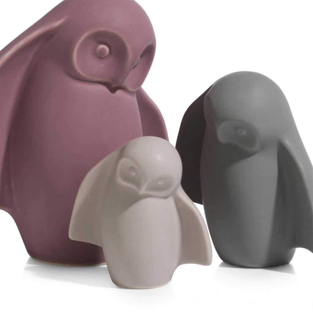 Ensemble de figurines céramiques en forme de chouettes