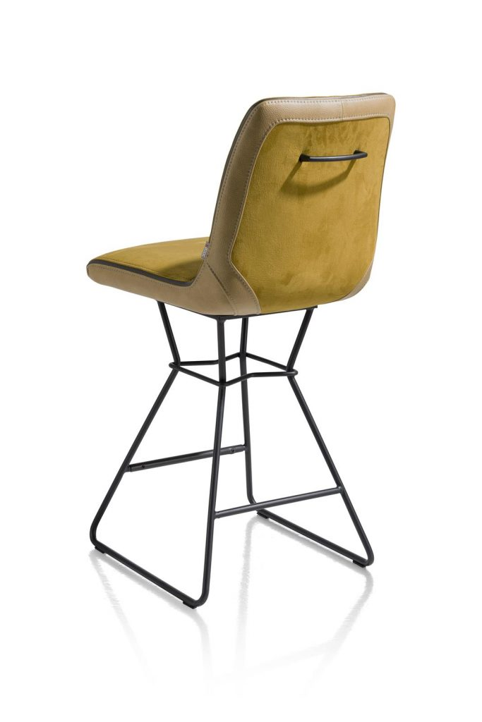 Chaise de bar moderne et confortable en tissu jaune