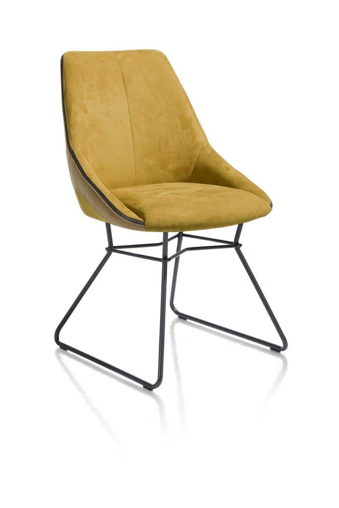 Chaise moderne et confortable en tissu jaune