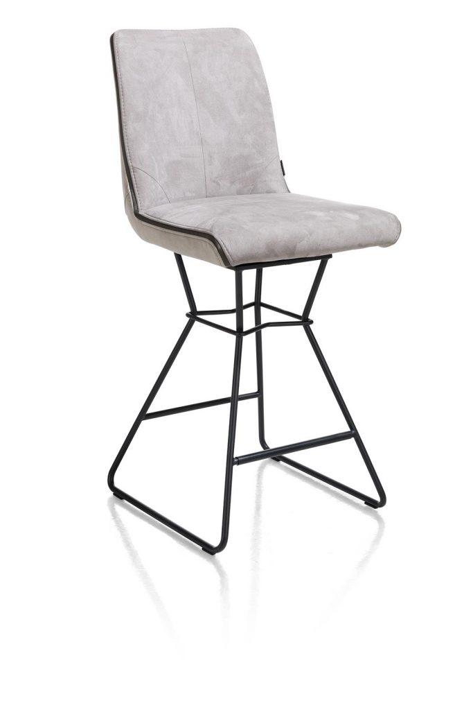 Chaise de bar moderne et confortable en tissu gris
