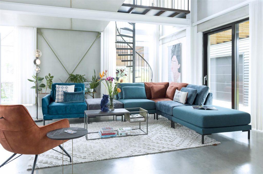 Canapé modulable en tissu bleu et cuivre