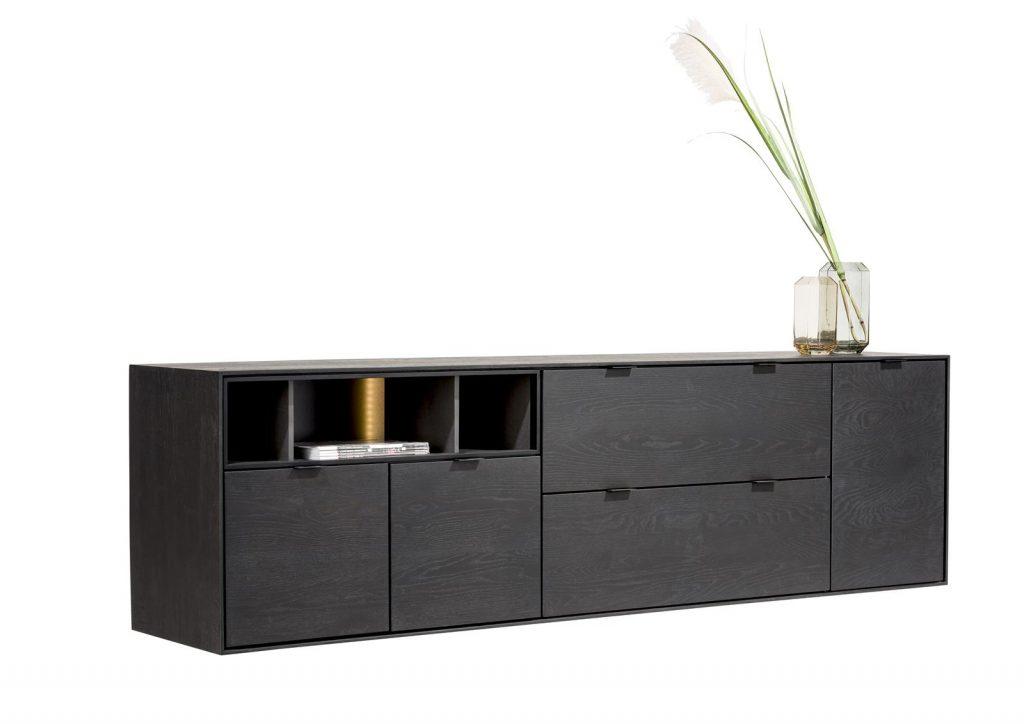 Buffet moderne à suspendre composé de bois de chêne teinte onyx
