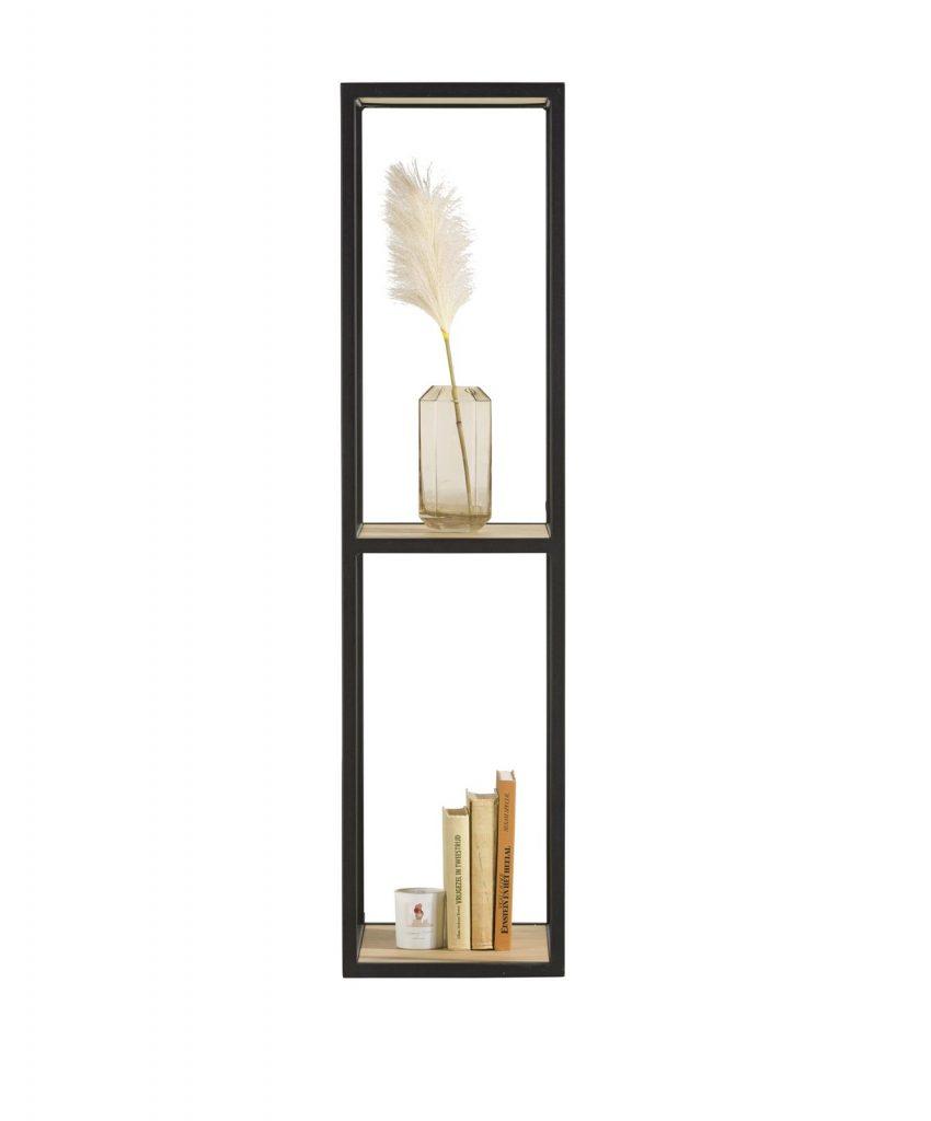Bibliothèque ouverte avec 2 étagères bois et métal