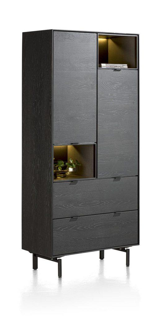 Armoire haute en placage bois de chêne couleur onyx