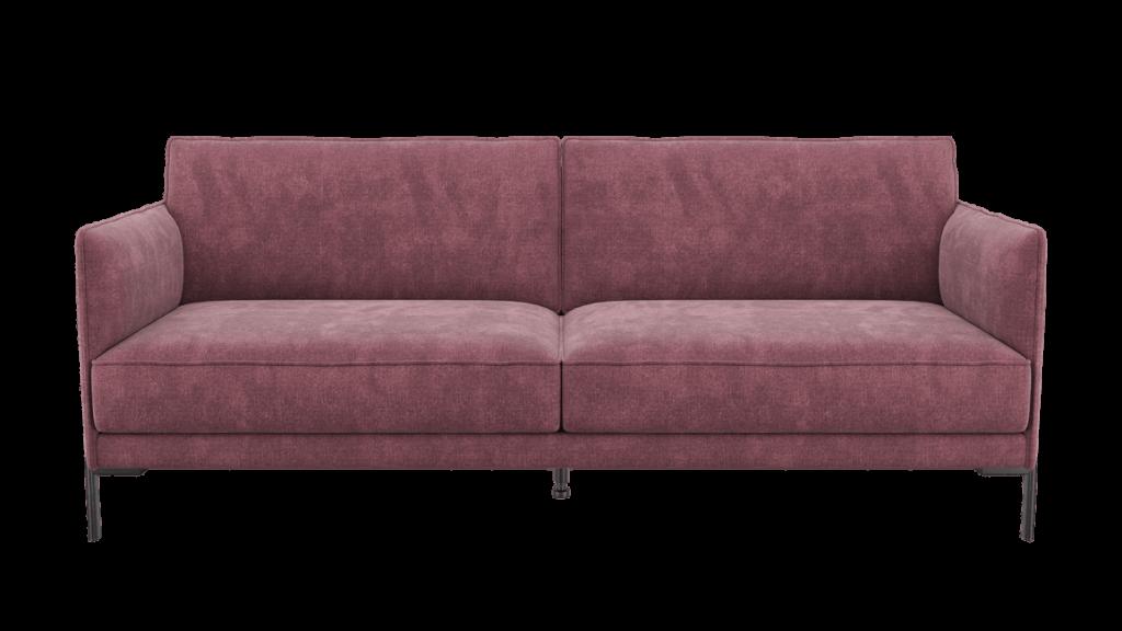 Canapé 3 places moderne en tissu rose
