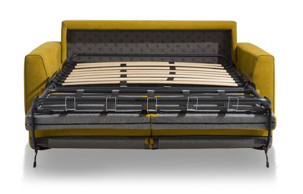 Canapé convertible contemporain en tissus jaune moutarde