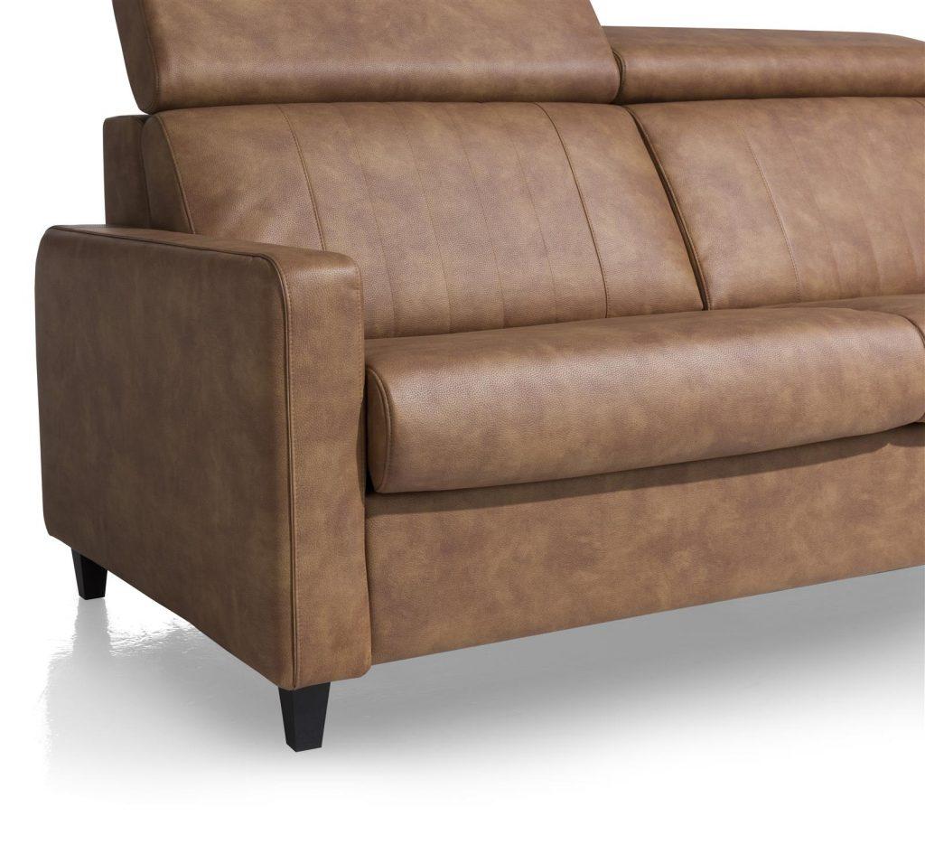 Canapé convertible contemporain en cuir marron