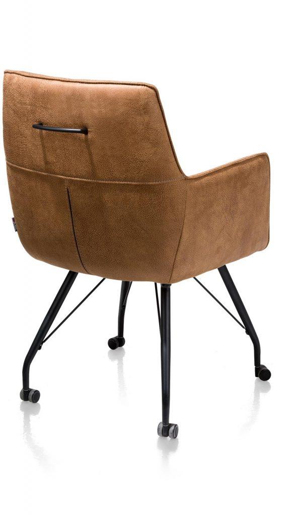 Chaise / fauteuil sur roulettes en microfibre couleur cognac sur roulettes