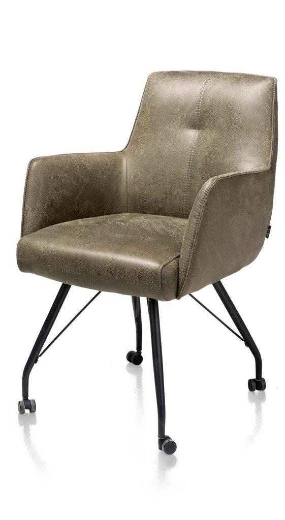 Chaise / fauteuil sur roulettes en microfibre couleur kaki sur roulettes
