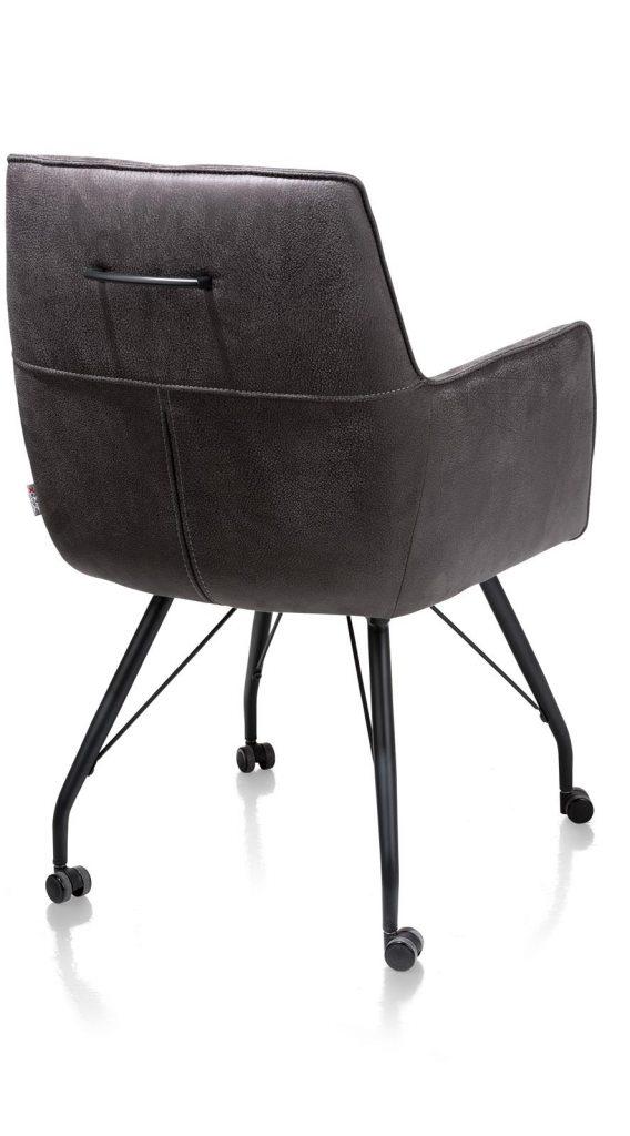 Chaise / fauteuil sur roulettes en microfibre couleur anthracite sur roulettes