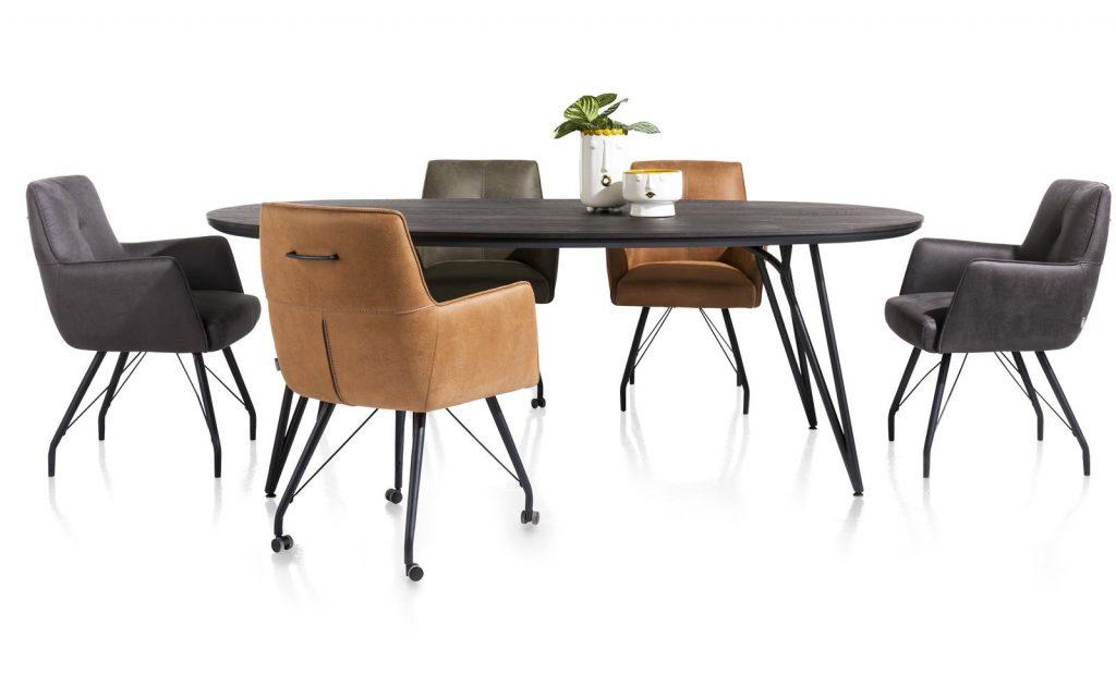 Chaise / fauteuil tendance de salle à manger en microfibre