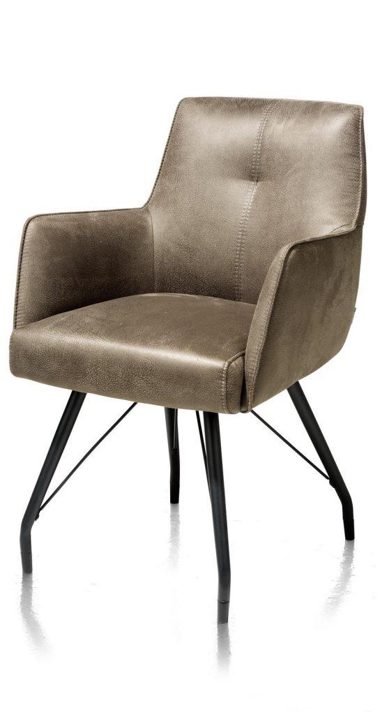 Chaise / fauteuil tendance de salle à manger en microfibre couleur kaki