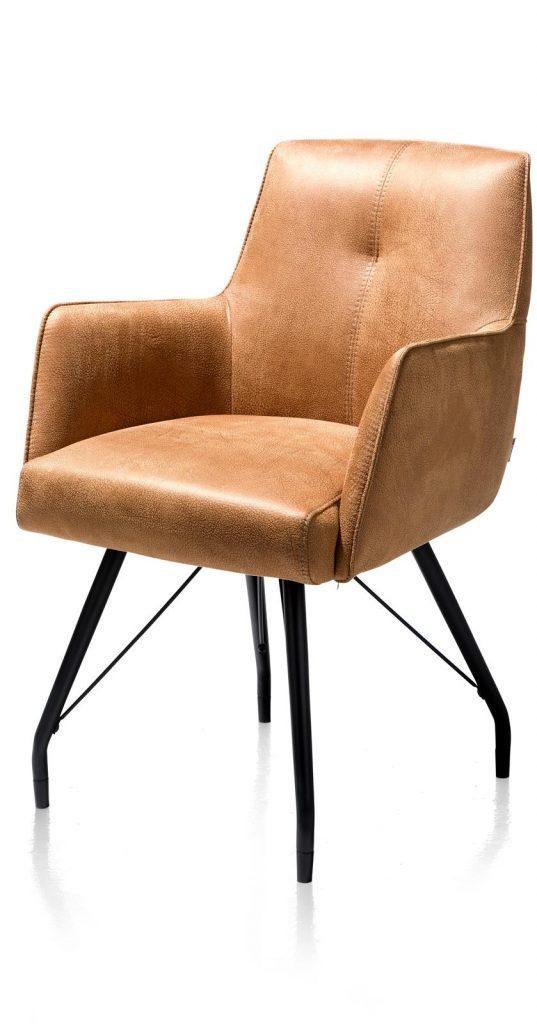 Chaise / fauteuil tendance de salle à manger en microfibre couleur cognac