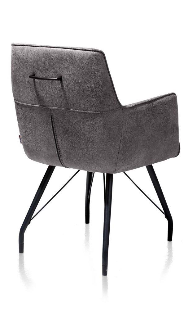 Chaise / fauteuil tendance de salle à manger en microfibre couleur anthracite