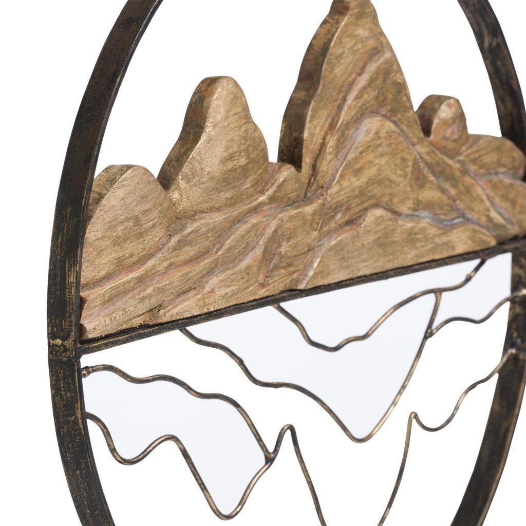 Statue décorative en métal et bois représentant la montagne