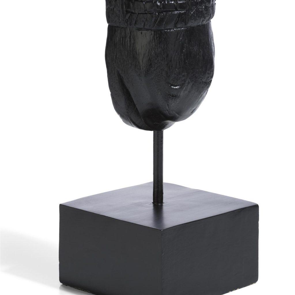Sculpture contemporaine tête de cheval en bois de manguier noir