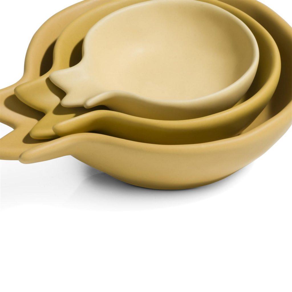 Coupelles en céramique jaune forme grenade