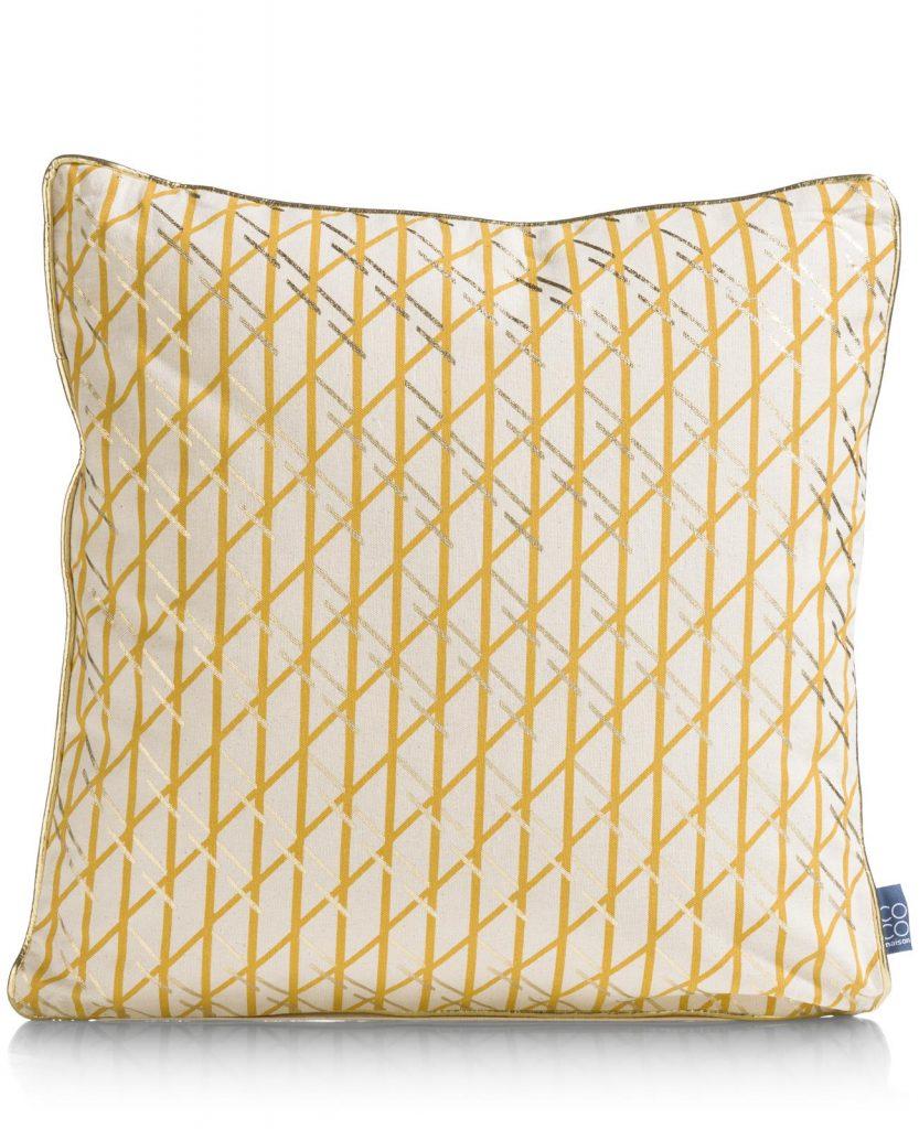 Coussin en coton beige avec quadrillage jaune