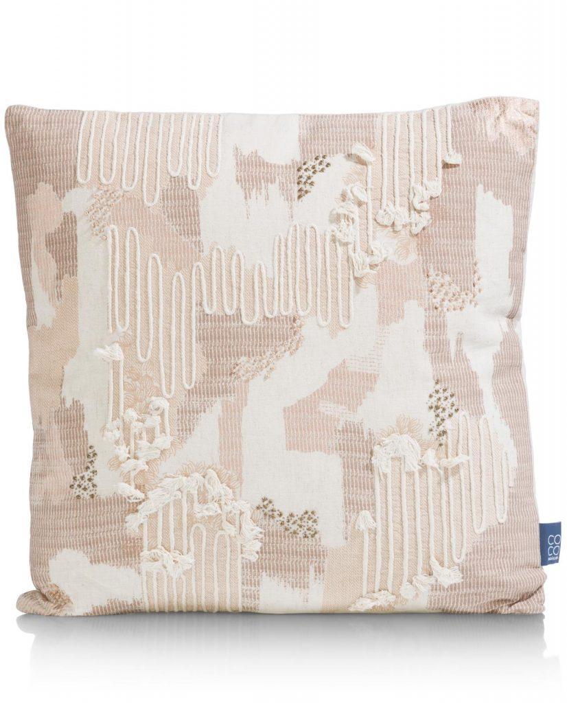 Coussin carré en tissu beige style décontracté
