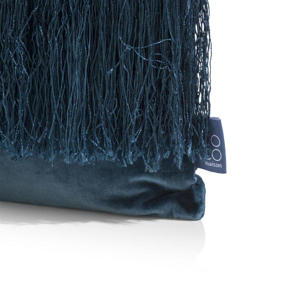 Coussin rectangulaire à frange couleur bleu pétrole