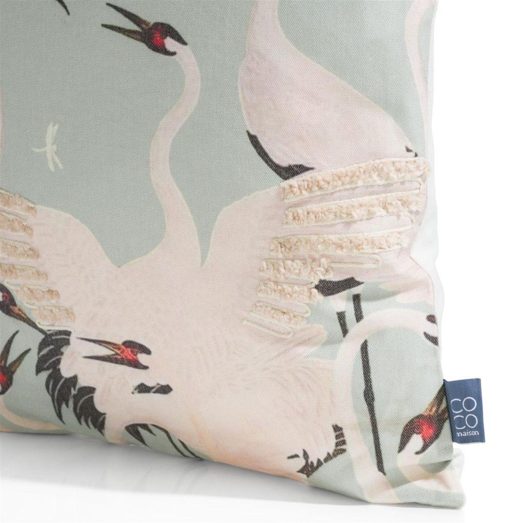 Coussin carré en coton couleur menthe avec motifs grues