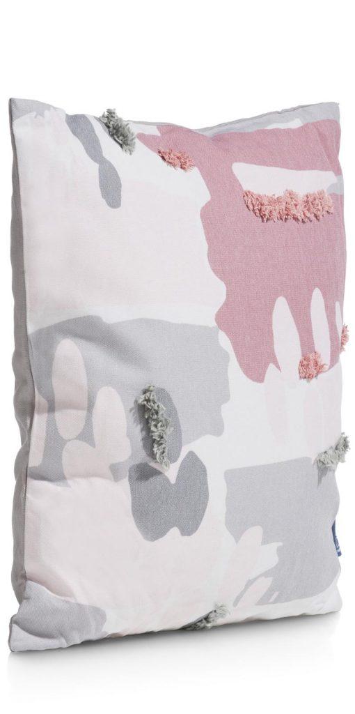 Coussin carré en coton gris et rose