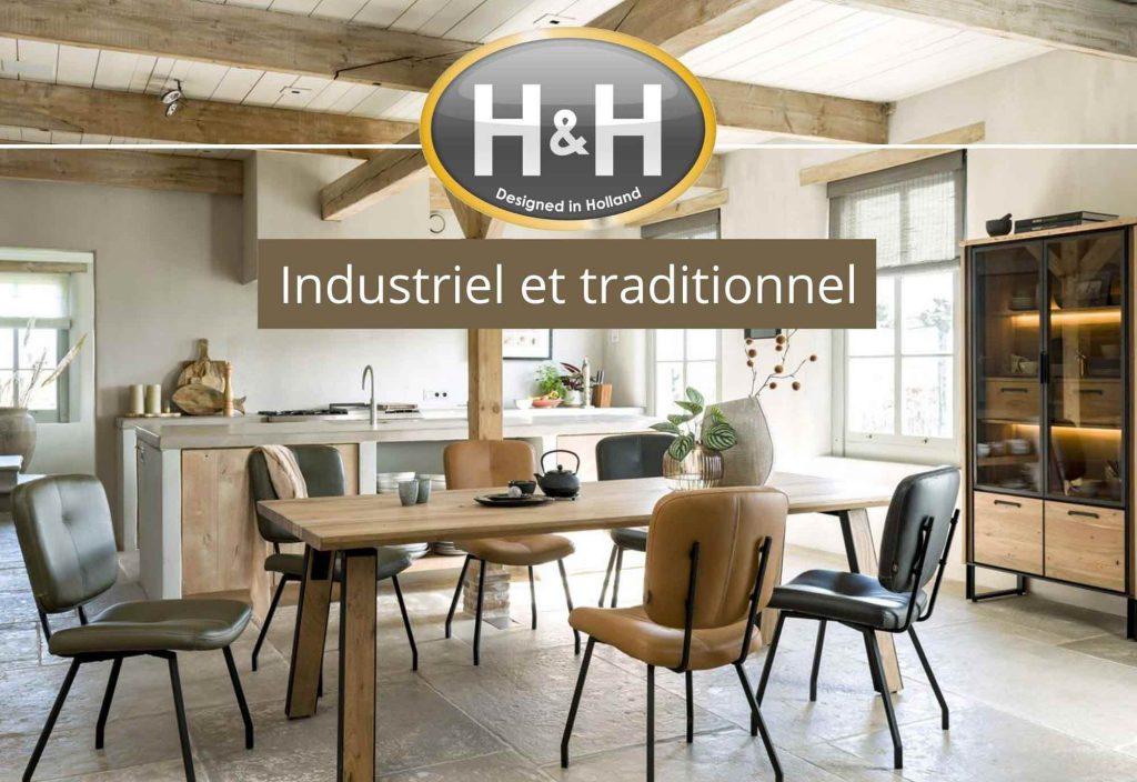 Ambiance salle à manger industrielle et traditionnelle