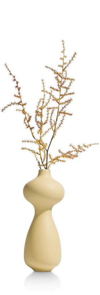 Vase en céramique jaune pâle courbes élégantes