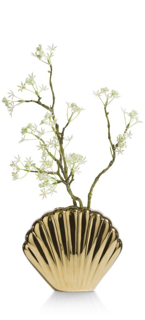 Vase doré en céramique forme coquillage