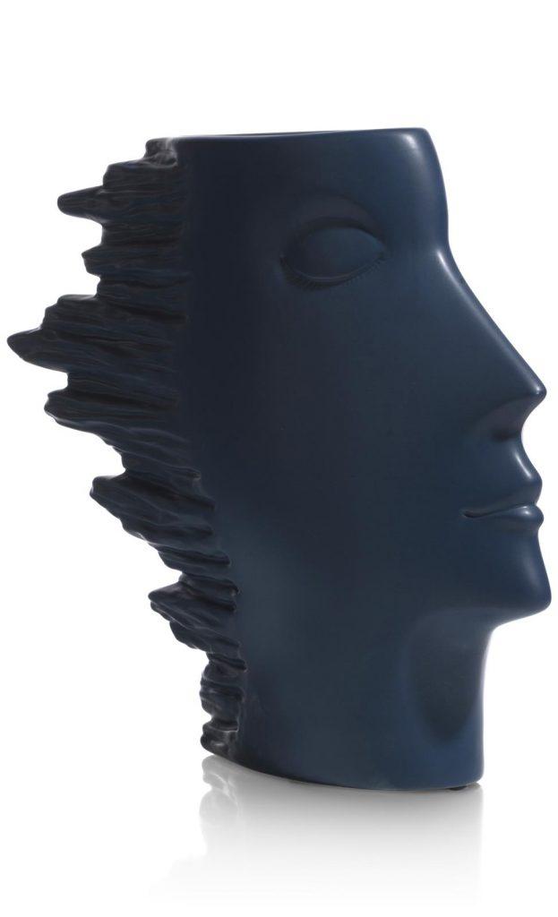 Vase en céramique bleu tendance visage