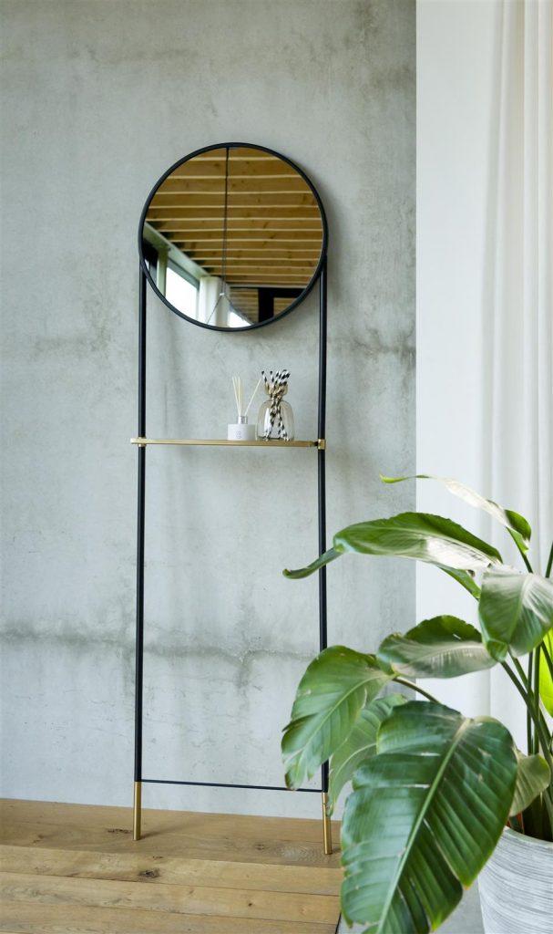 Miroir rond sur pied avec étagère