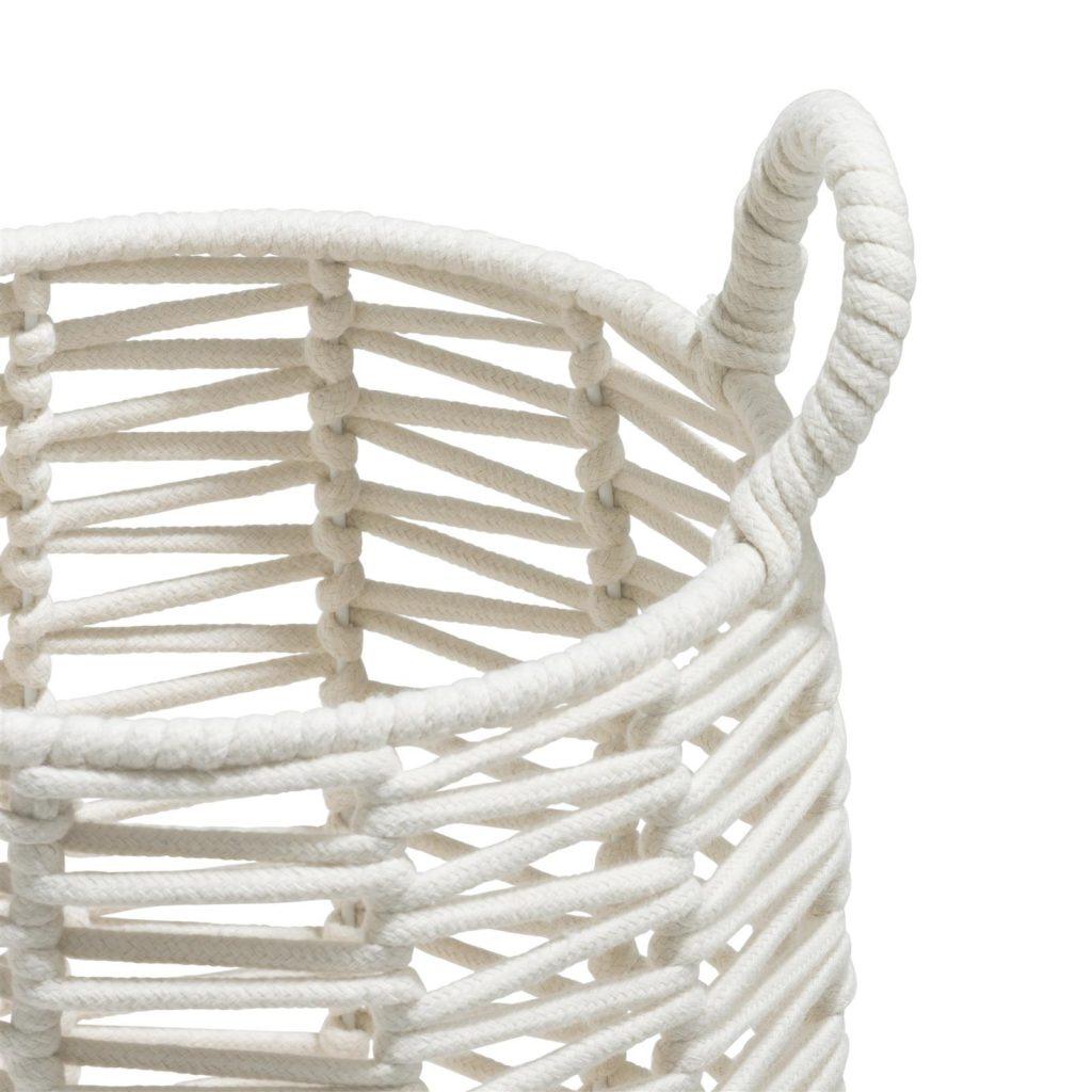 Ensemble de 3 panières tendances en corde blanche