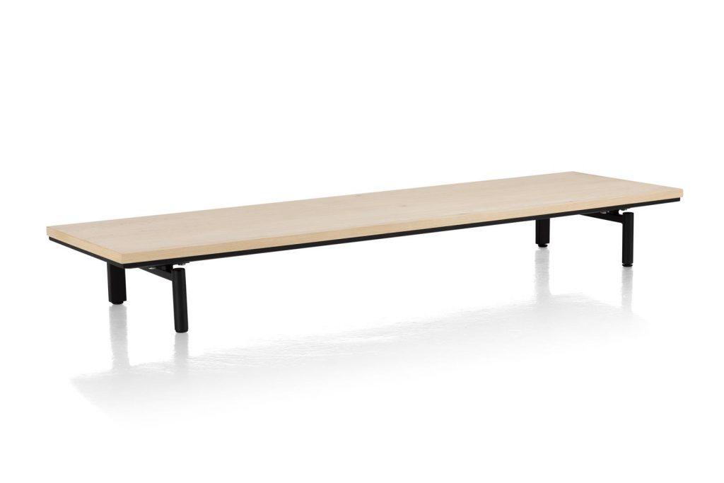 Piétement plateforme meuble en placage bois de chêne et métal noir