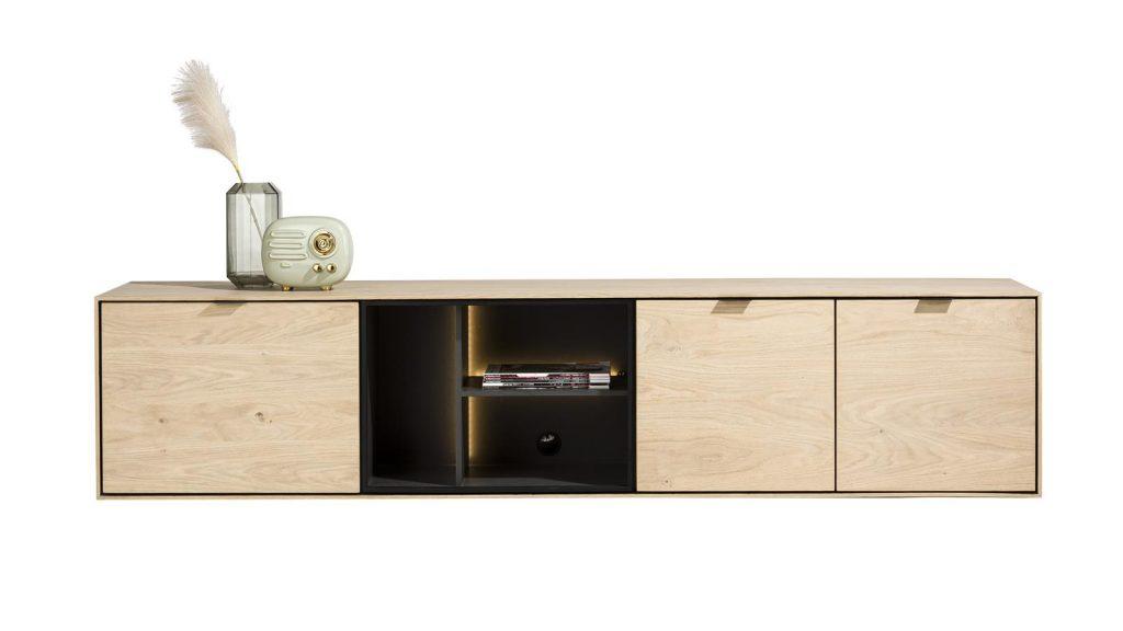 Meuble TV moderne en placage bois de chêne et niches à éclairage LED
