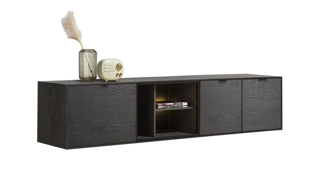 Meuble TV moderne couleur onyx et niches à éclairage LED