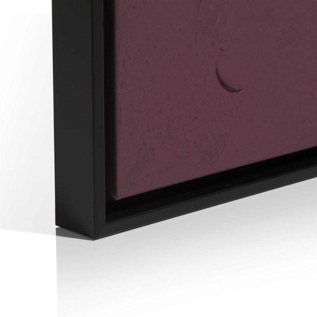 Tableau abstrait formes organiques violettes et grises