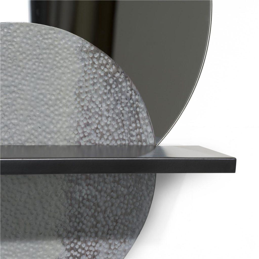 Miroir rond design avec tablette en métal