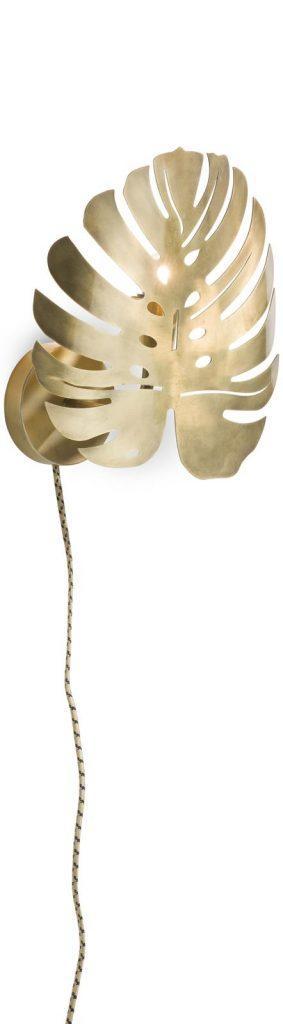 Applique murale feuille de monstera en métal doré