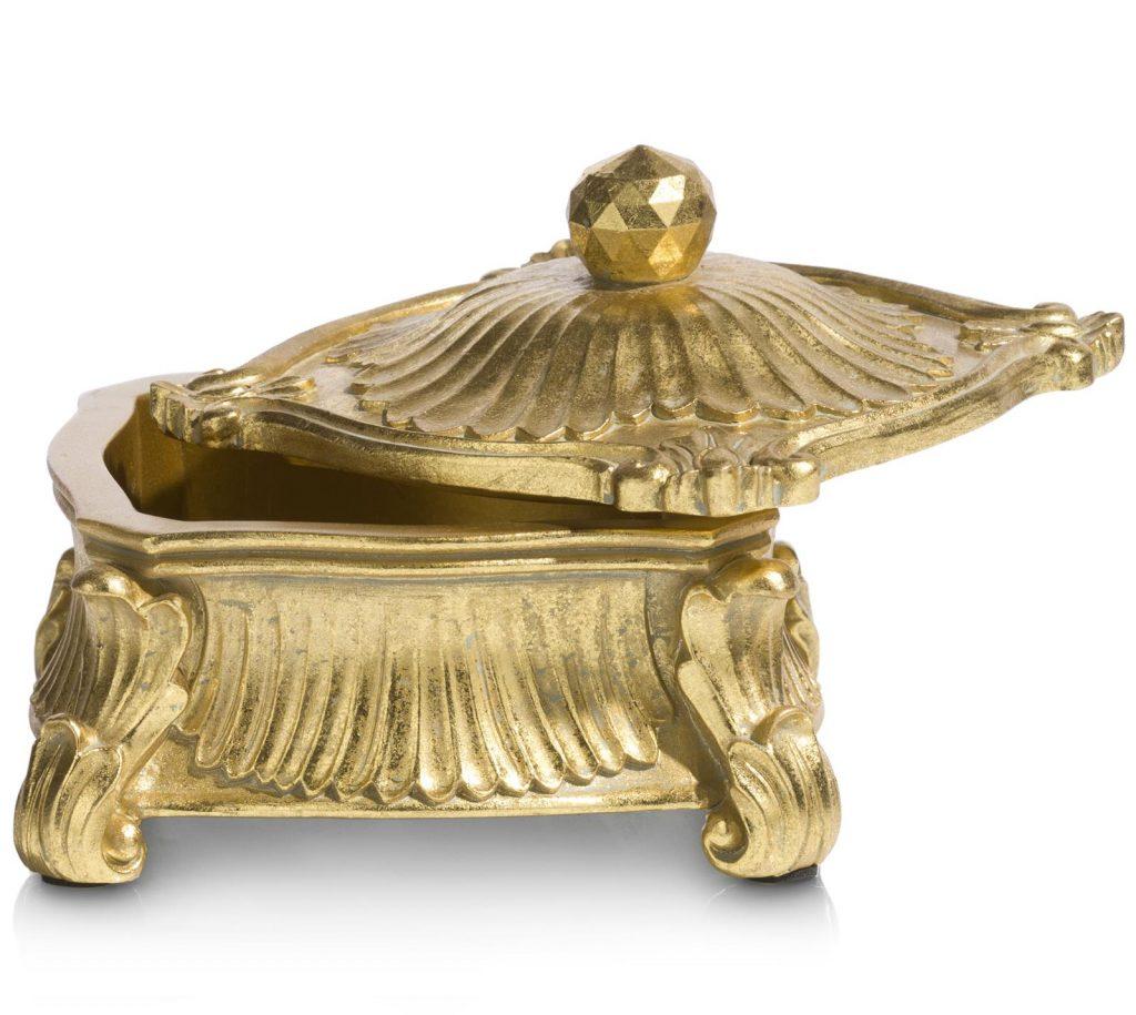 Pot de rangement doré au style classique et baroque